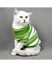 "Kitten Clothes Sweater for Cat,Winter Pet Cat Costume Jumper High Stretch Comfortable for Small Cats,Dogs Chihuahua Pug (S:chest11.8-12.6"", Green)"