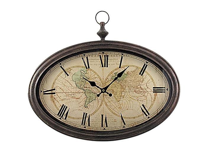 World Map Antiqued Bronze Framed Wall Clock