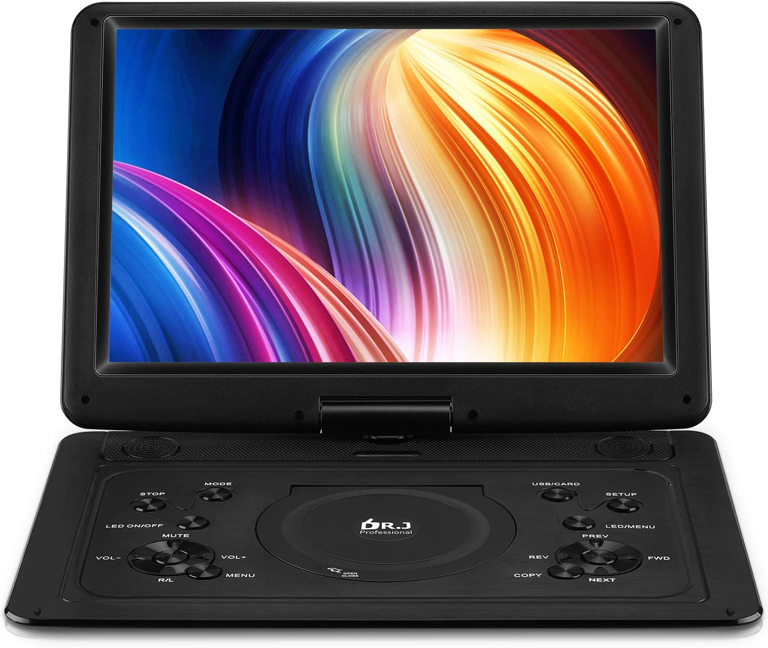 "DR. J 17.9"" Region Free Portable DVD Player with 6 Hours Rechargeable Battery, Large 15.4"" Screen DVD Player Sync TV Support USB/SD Card and Multiple Disc Formats, High Volume Speaker Black"