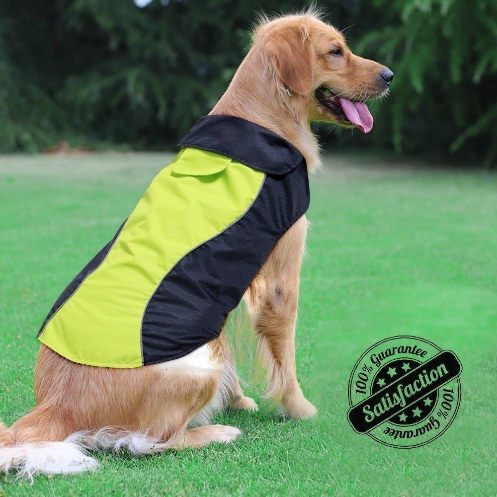 Ezer High Visibility Dog Coat- Safety Waterproof Dog Jacket for Cold Weather (M)