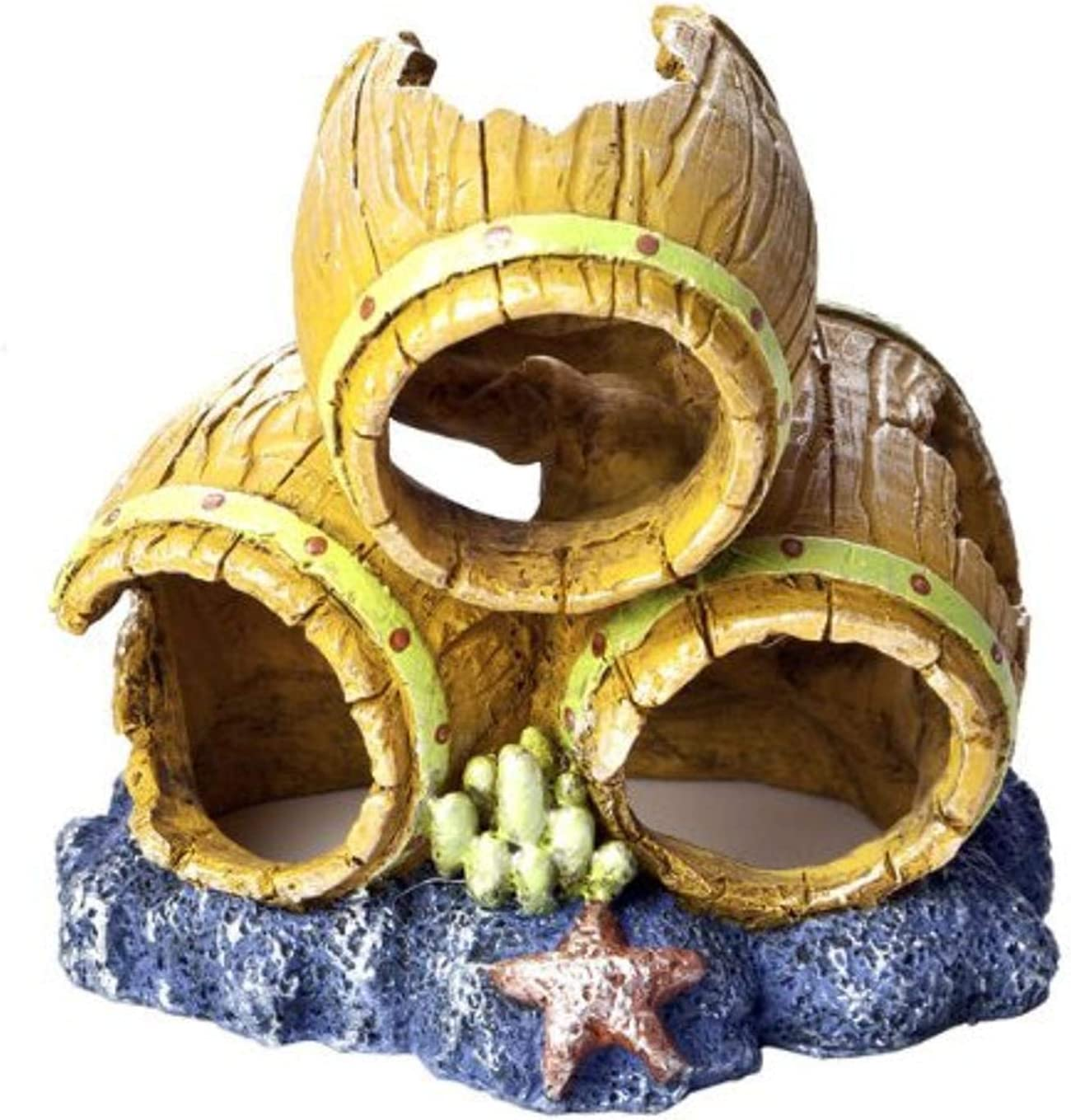GloFish Barrels Ornament, Small, Detailed aquarium Ornament, Hideaway For Fish
