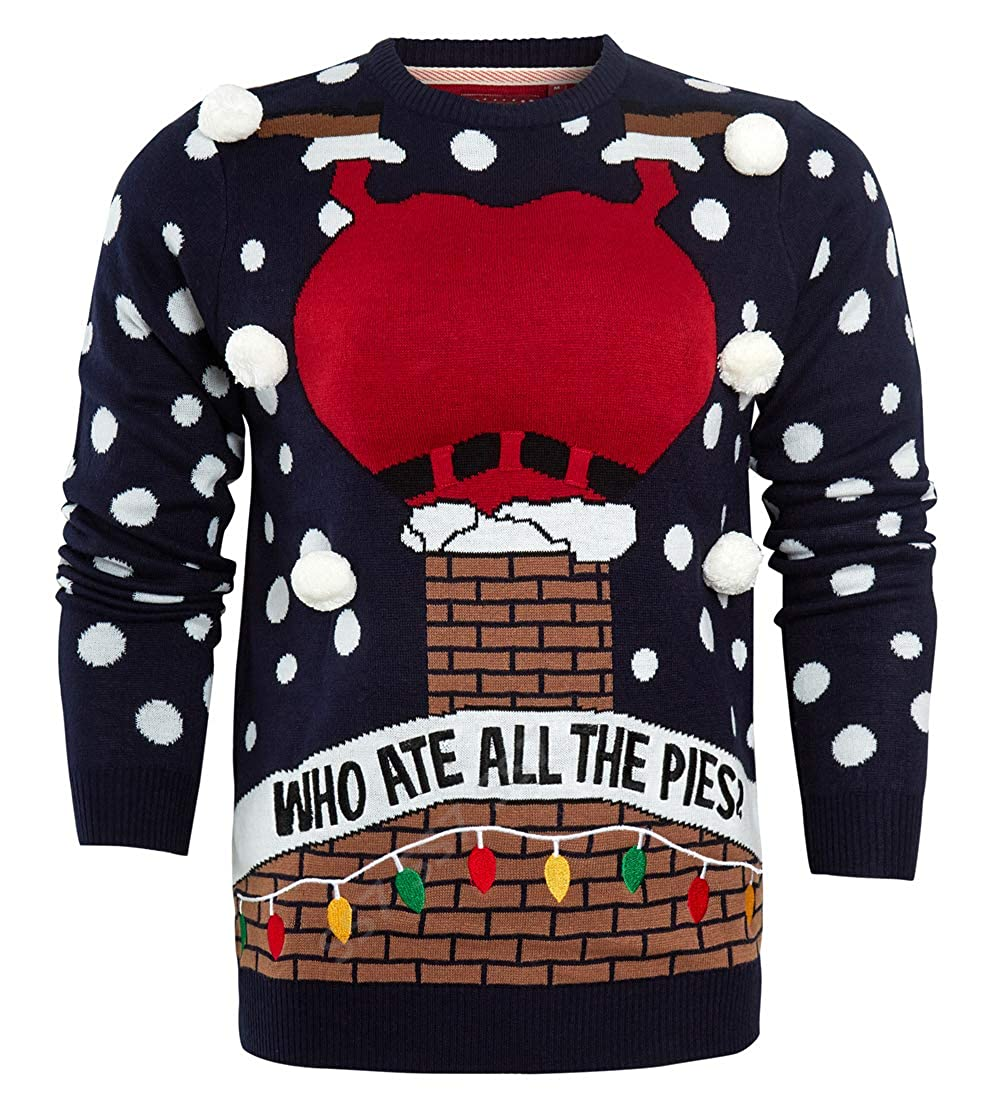 SS7 Mens Christmas Jumper Pies Fat Santa Funny Size XS S M L XL Red Navy UK