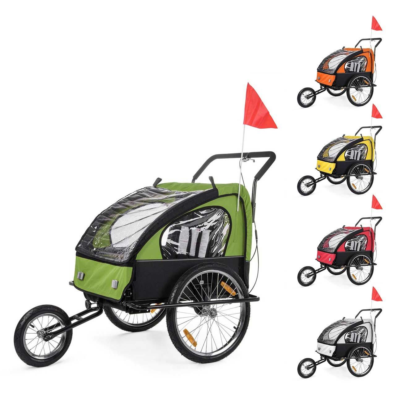SAMAX Remolque de Bicicleta para Niños Kit de Footing Transportín Silla Cochecito Carro Suspensíon Infantil Carro en Amarillo/Negro - Black Frame