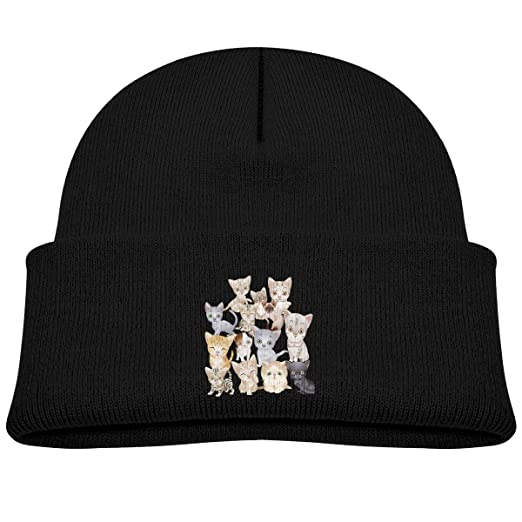 311608042d2 Boys Girls Super Cute Cats Beanie Hats for Toddlers Cool Winter Outdoor  Warm Caps