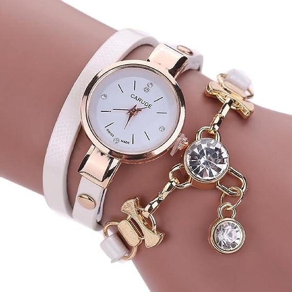 baonoop reloj mujer redonda Faux de piel Para Mujer Moda Brillantes analógica cuarzo Dress relojes