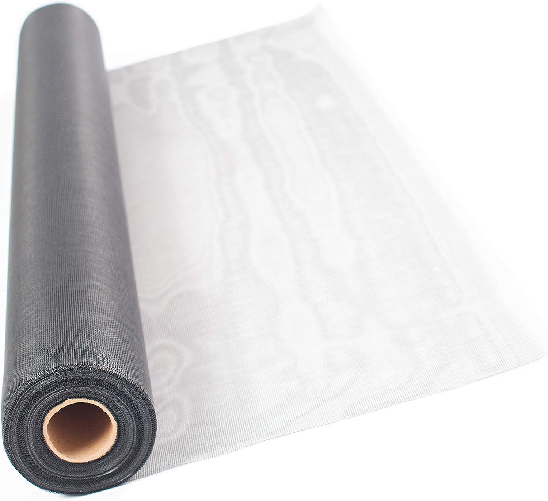 gris ou blanc de qualit/é sup/érieure et sans effilochage lors de la d/écoupe r/ésistant aux UV et aux d/échirures. couleur noir TESO Moustiquaire en fibre de verre d/écoup/ée polyvalent