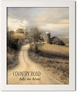 Gango Home Decor Country-Rustic Country Road Take Me Home by Lori Deiter (Ready to Hang); One 12x16in White Framed Print
