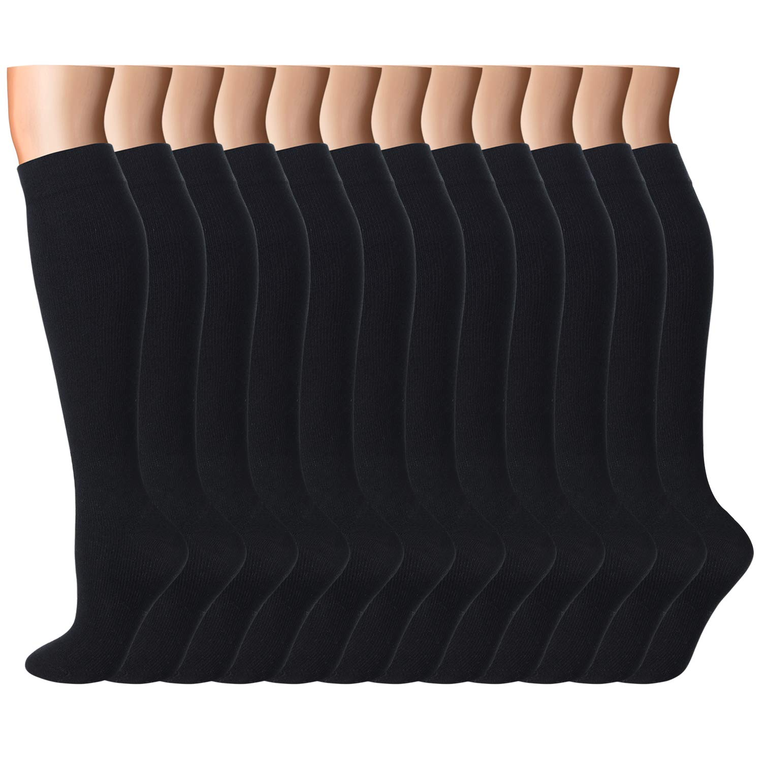 Compression Socks Women Men 15-20 mmHg, 6/7/12-Pairs Mens Womens Athletic Sock for Dress,Running,Medical,Varicose Veins,Travel (Black-12 Pairs, S/M (US Women 5.5-8.5/US Men 5-9))