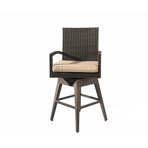 Ulax furniture Outdoor Patio Furniture All-Weather Brown Wicker Swivel Bar Stool with Cushion