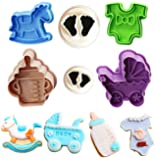 Baby Shower Theme Cookie Cutter Set,Baby Bottles,Baby Clothes,Strollers,Trojans Biscuit Pastry Mould,Cake Topper Decorating Gumpaste Fondant Mould -Set of 6