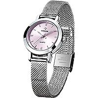 WWOOR Ultraplano Reloj de Mujer Reloj Redondo Dial,Reloj de Pulsera Para Mujer Niña Resistente al Agua con Cuarzo, Analógico Relojes