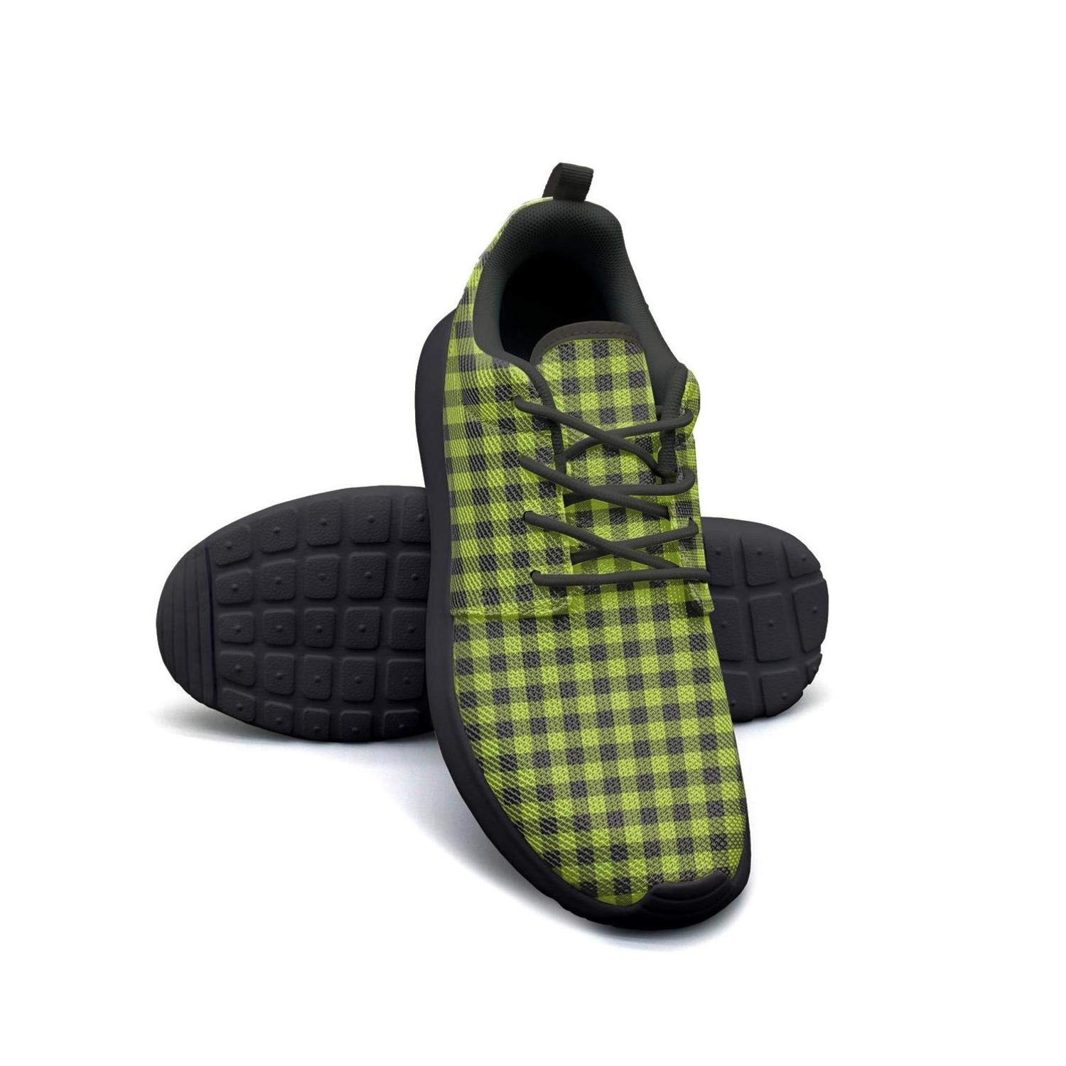 YSLC Plaid Printing Green and Black Plaid Running Shoes Lightweight Women Sneaker Travel Breathable Shoes