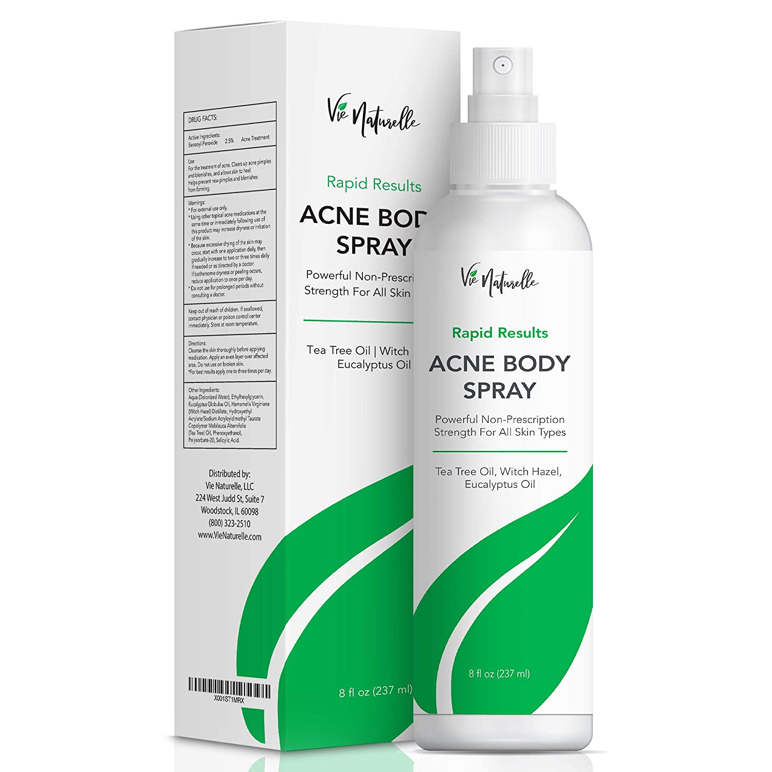 Amazon Com Body Acne Spray Treatment With Tea Tree Oil And Salicylic Acid For Men Women And Teens Powerful Non Prescription Strength Exfoliating Spray For All Skin Types 2 5 Benzoyl Peroxide Beauty