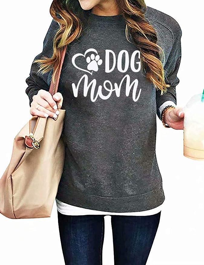 Sweatshirts for Women Pullover Yezijin Dog Mom Womens Velvet Fashionable Long Sleeve Casual Sweatshirt Printing Tops