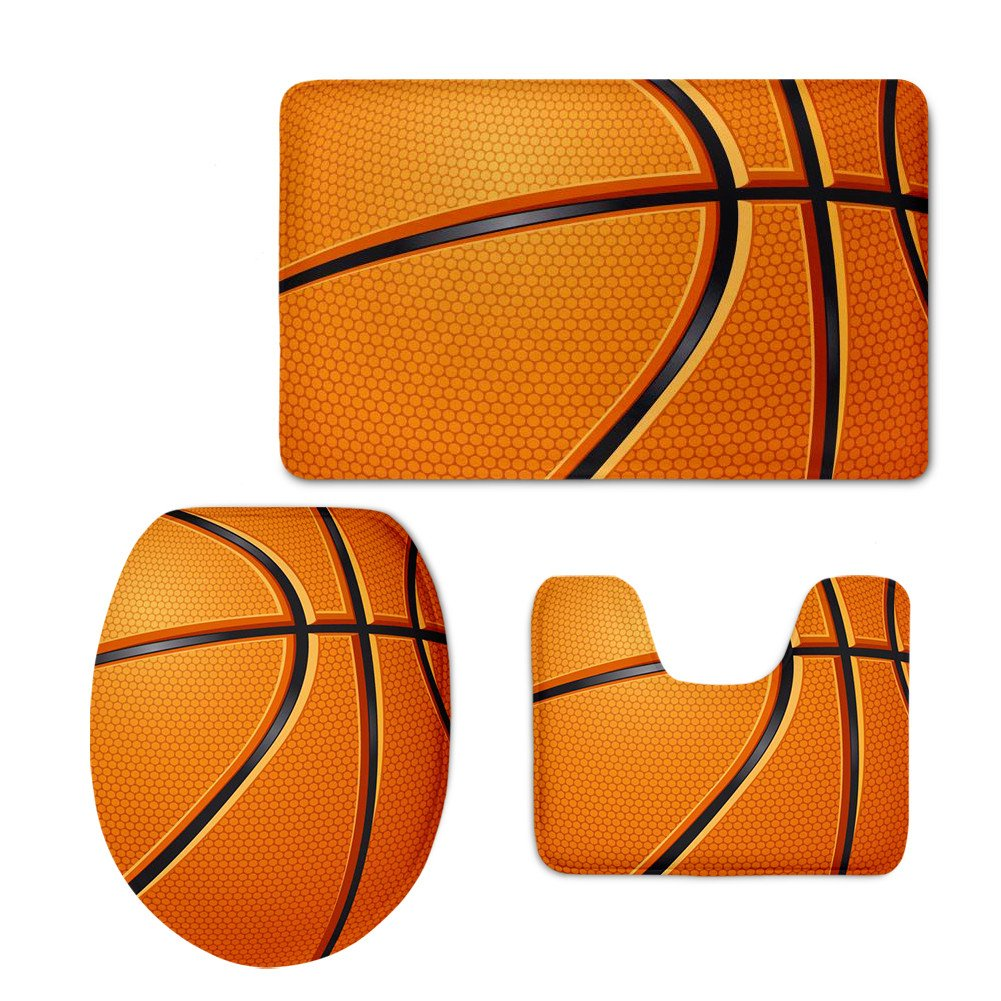 CHAQLIN Basketball Pattern Washroom Mat Set Anti-Slip Comfort Large Bathroom Mats Contour Toilet Cover Rug S-P1445CP.
