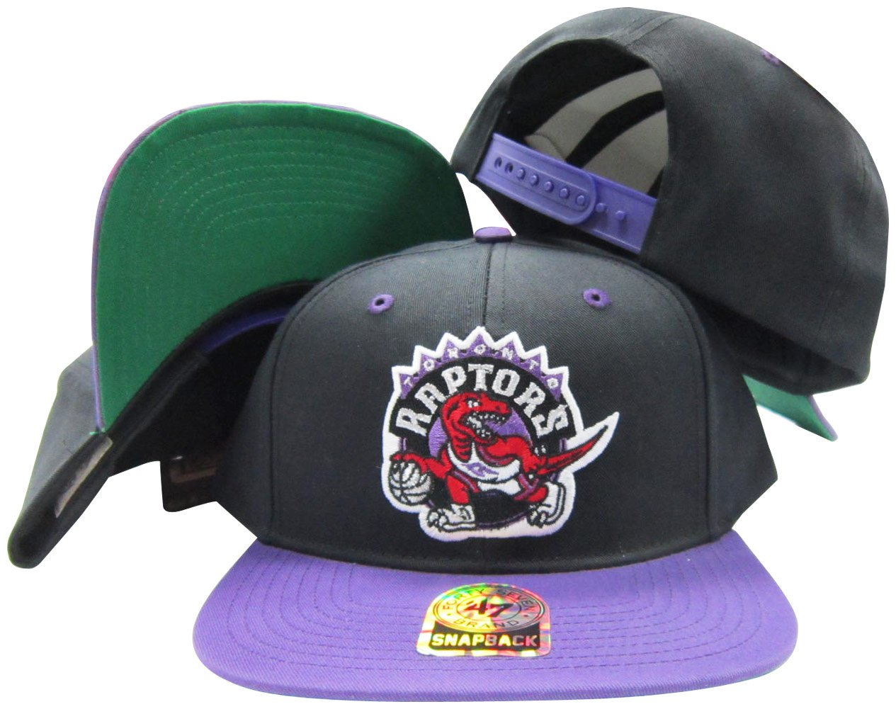 Amazon.com   Toronto Raptors Black Purple Old School Snap Structured  Plastic Snap Snapback Hat Cap   Sports   Outdoors b4491384e46