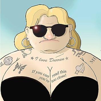 Twizler Carte Humoristique Pour Femme Avec Lady Tatouages Et D