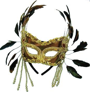 gold velvet mask feathers on headband bristol novelty amazon co