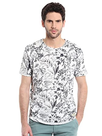 Masculino Latino Men White   Black Printed Round Neck T-shirt  Amazon.in   Clothing   Accessories d1cd78065a5