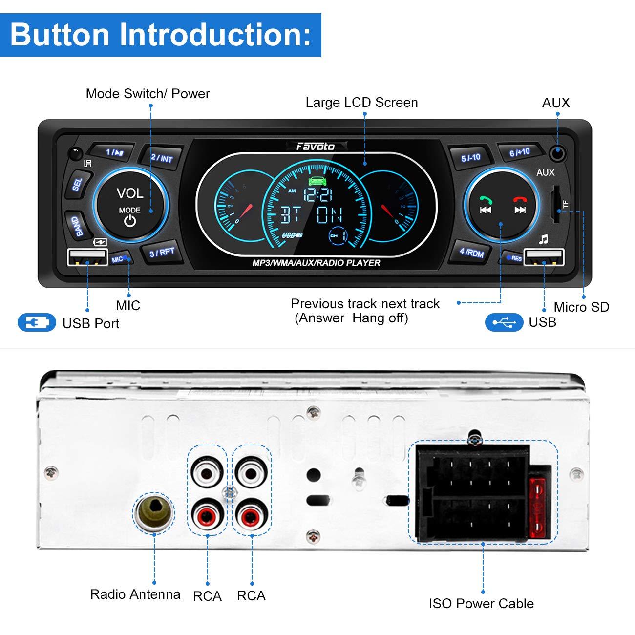 Deutsche Bedienungsanleitung FM Radio mit Fernbedienung AUX Favoto 4x60W Bluetooth Autoradio mit Handyhalterung Single Din Audio Receiver MP3 unterst/ützt Freisprecheinrichtung SD Karte