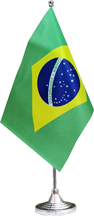 tibijoy Small Mini Brazil Desk Flag, Brazilian Office Flag,Desk Flag,for Home Garden Office Decoration,Festival Events Celebration,Home Decoration,Office Decoration