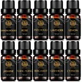 Aromatherapy Geranium Essential Oil Set for Diffuser, 100% Pure Jasmine Essential Oil Kit for Humidifier, 10x10ml Therapeutic Grade Essential Oils Set-Ylang Ylang,Lavender, Lemon, Patchouli, Rose Oil