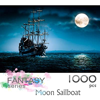 Ingooood- Jigsaw Puzzles 1000 Pieces for Adult- Fantasy Series- Moon Sailboat_IG-0521 Entertainment Wooden Puzzles Toys: Toys & Games