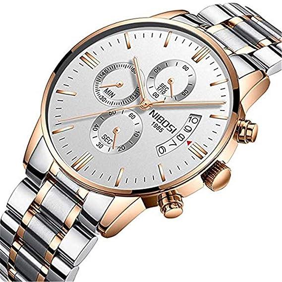 NIBOSI Relojes Hombres Cronógrafo Deporte Impermeable Acero Inoxidable Correa Cuarzo Relojes de Pulsera para Negocios + Caja de Regalo: Amazon.es: Relojes
