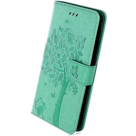 Herbests Funda Huawei Nova 3i, Flip Stand Cover Case Huawei P Smart Plus Carcasa de PU Cuero Cubierta en Relieve Árbol y Gato Patrón Carcasa con TPU ...