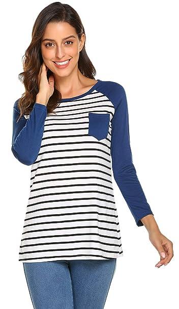 5f2d2532ab6 Newchoice Women s Basic Raglan Long Sleeve Flowy Striped T Shirts ...