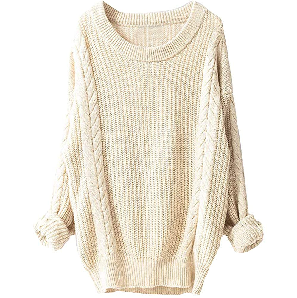 DBolomm New Womens Sweaters Long Sleeve Round Neck Cable Knit Sweater Pullover