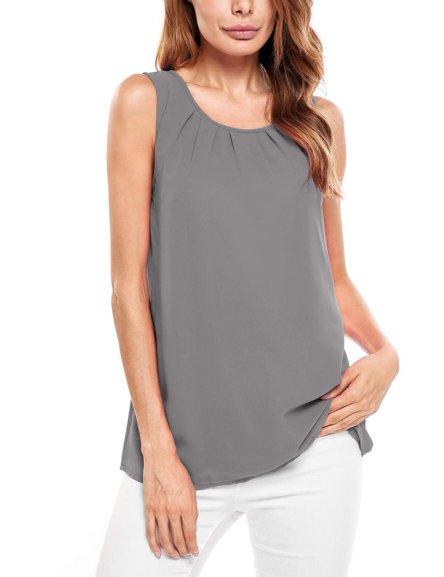 Beyove Women's Casual Summer Chiffon Keyhole Tank Top Sleeveless Blouse Shirt (XX-Large, Grey-1)