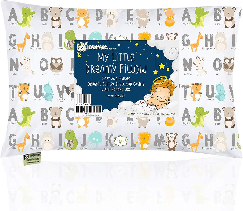 Almohada para niños con funda - Almohada para bebés de algodón orgánico suave 13x18 para dormir - Lavable e Respirable - Niños, bebés y recién nacidos - Perfecto para viajar (KeaABC)
