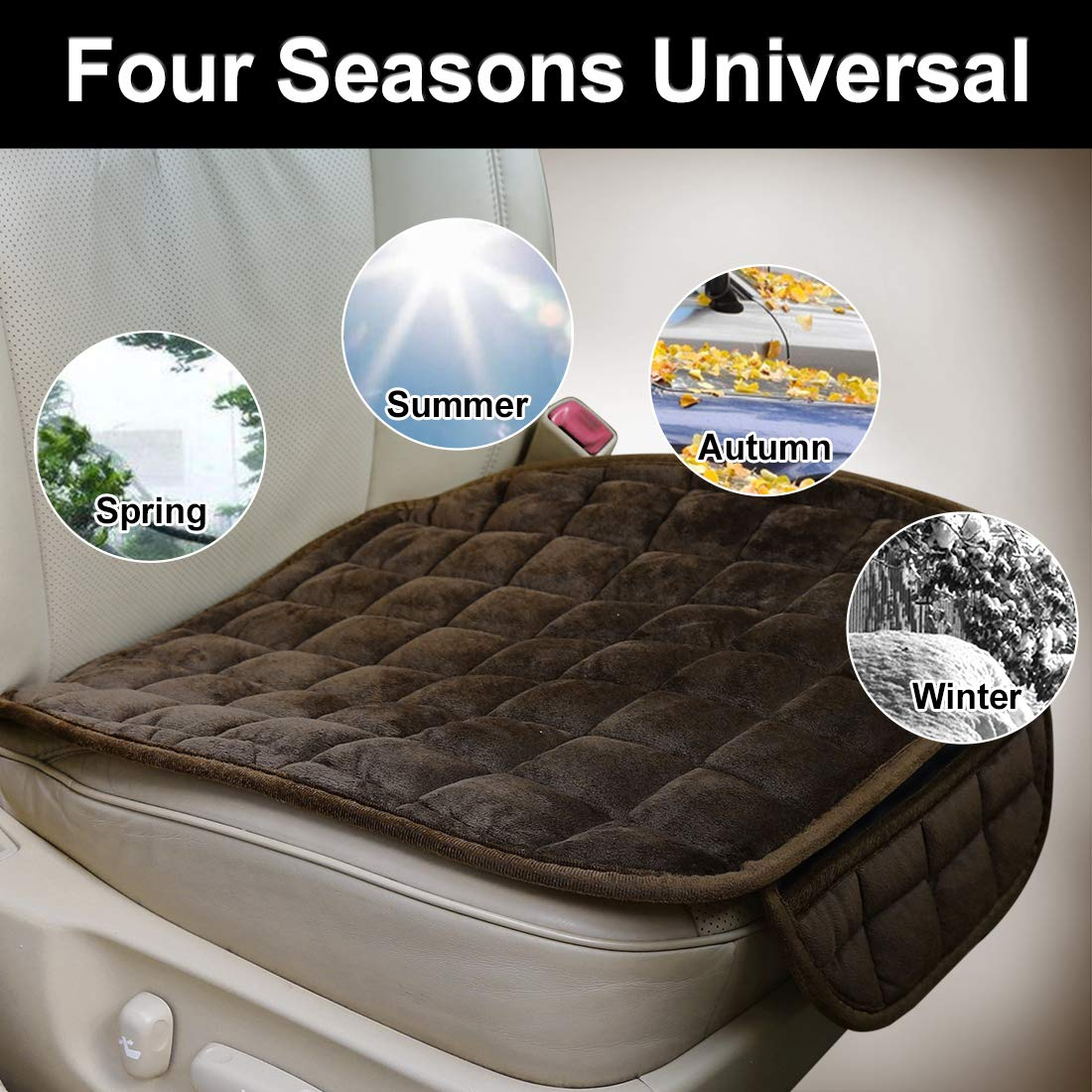 uxcell 2pcs Universal Front Car Seat Cushion Breathable Plush Seat Pad Mat Protector for Automotive Home Chair Brown