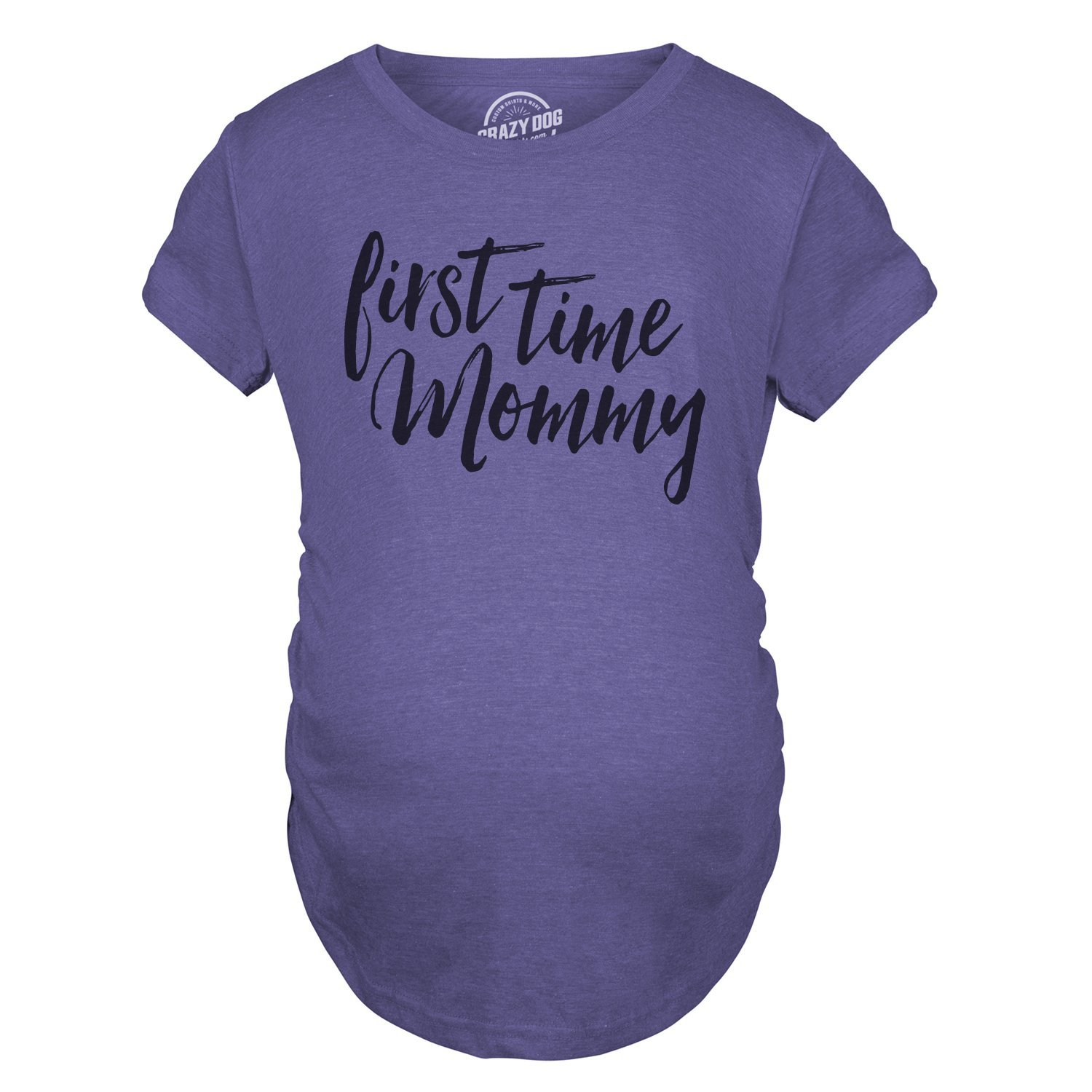 Maternity First Time Mommy Pregnancy Tshirt Cute Belly Bump Tee for Mother to Be (Heather Purple) -XL