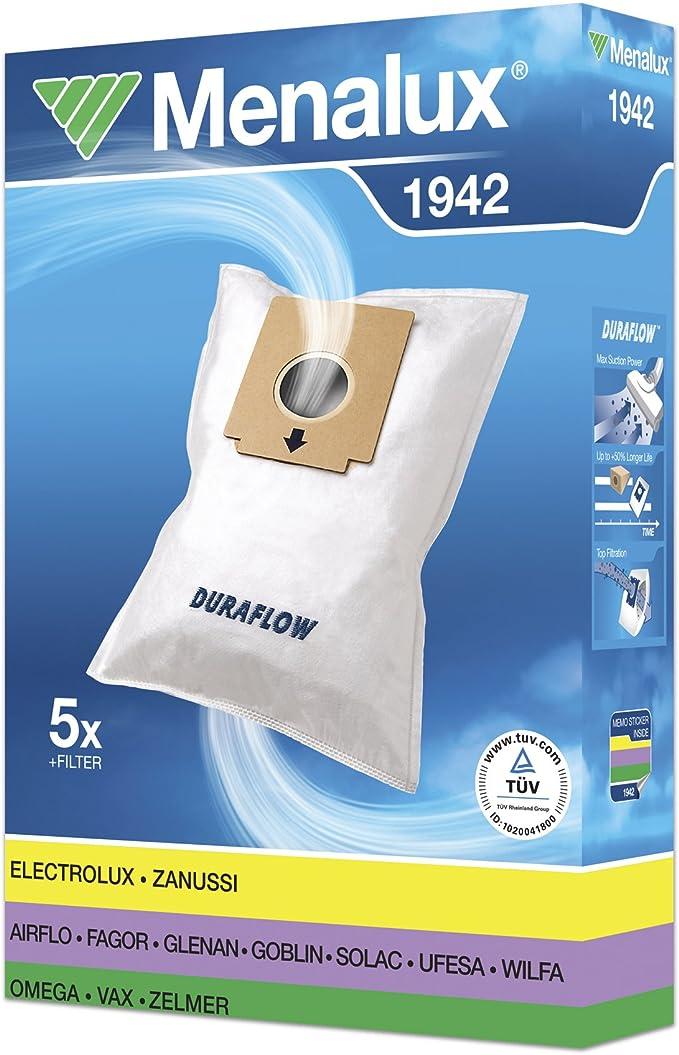Menalux 1942 - Pack de 5 bolsas sintéticas y 1 filtro para aspiradoras AEG, Clatronic, Fagor, Solac y Ufesa: Amazon.es: Hogar