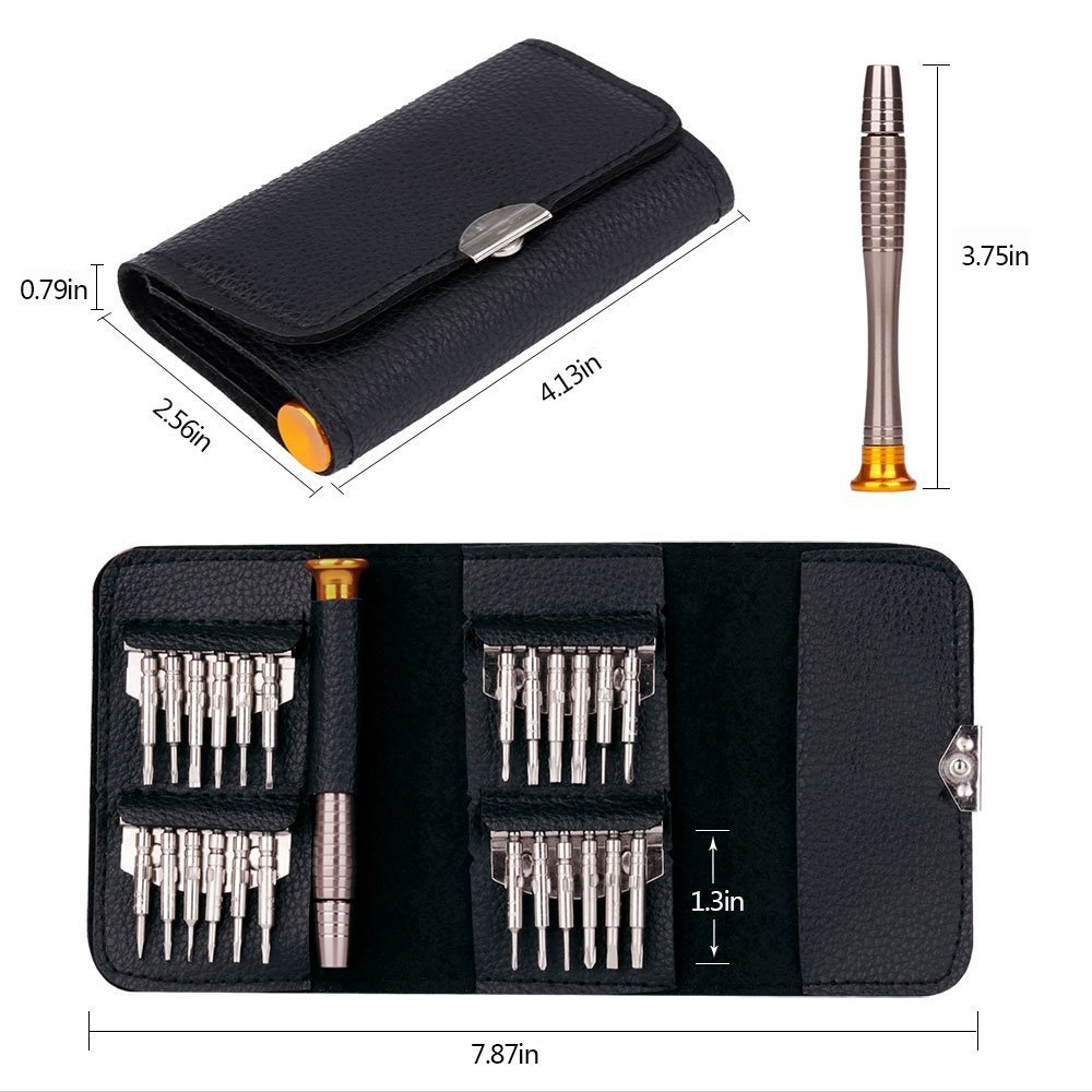 E-say Take 25 in 1 Precision Screwdriver Set, Screwdriver Tool Set with Black Bag for Macbook, Mobile Phone, PC Laptop, Tablet, iPad, Watch, Car Keys