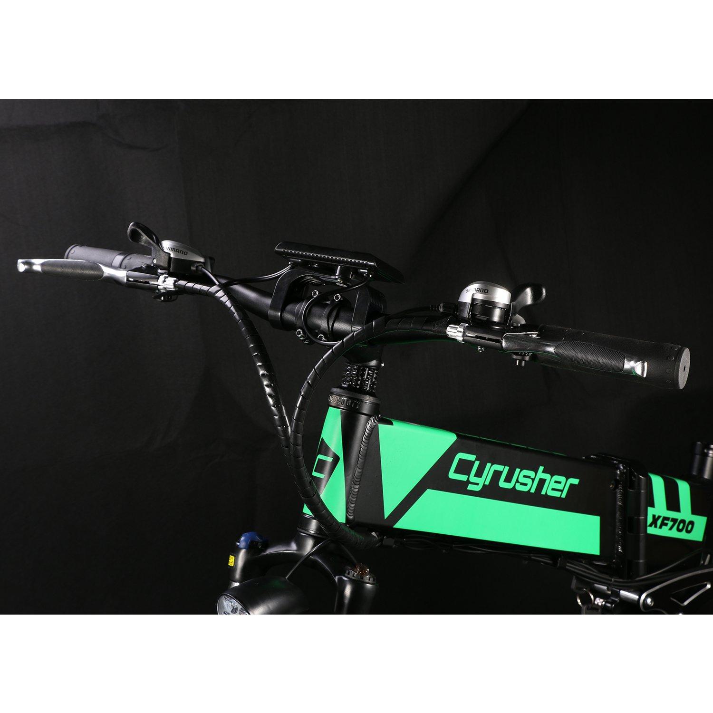 Bicicleta eléctrica plegable XF700, de la marca Cyrusher, con 21 marchas y ordenadores inteligente, color yellow black, tamaño Large, tamaño de rueda 26.00: ...
