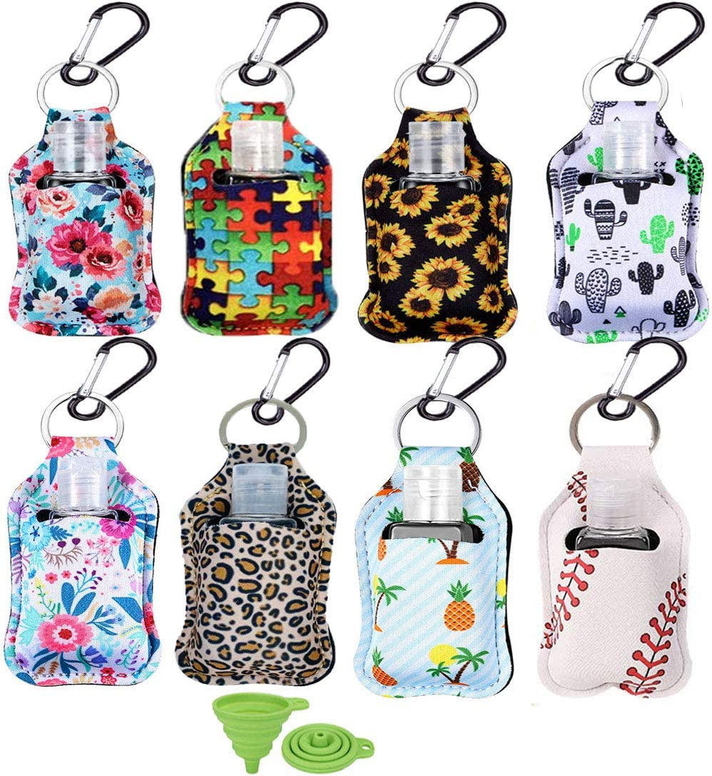 8 Pack Travel Bottles with Keychain Holder 1oz Portable Empty Keychain Bottle with Flip Hand Sanitizer Bottles Refillable Containers for Soap, Lotion, and Liquids - Kids Men Women Portable Using
