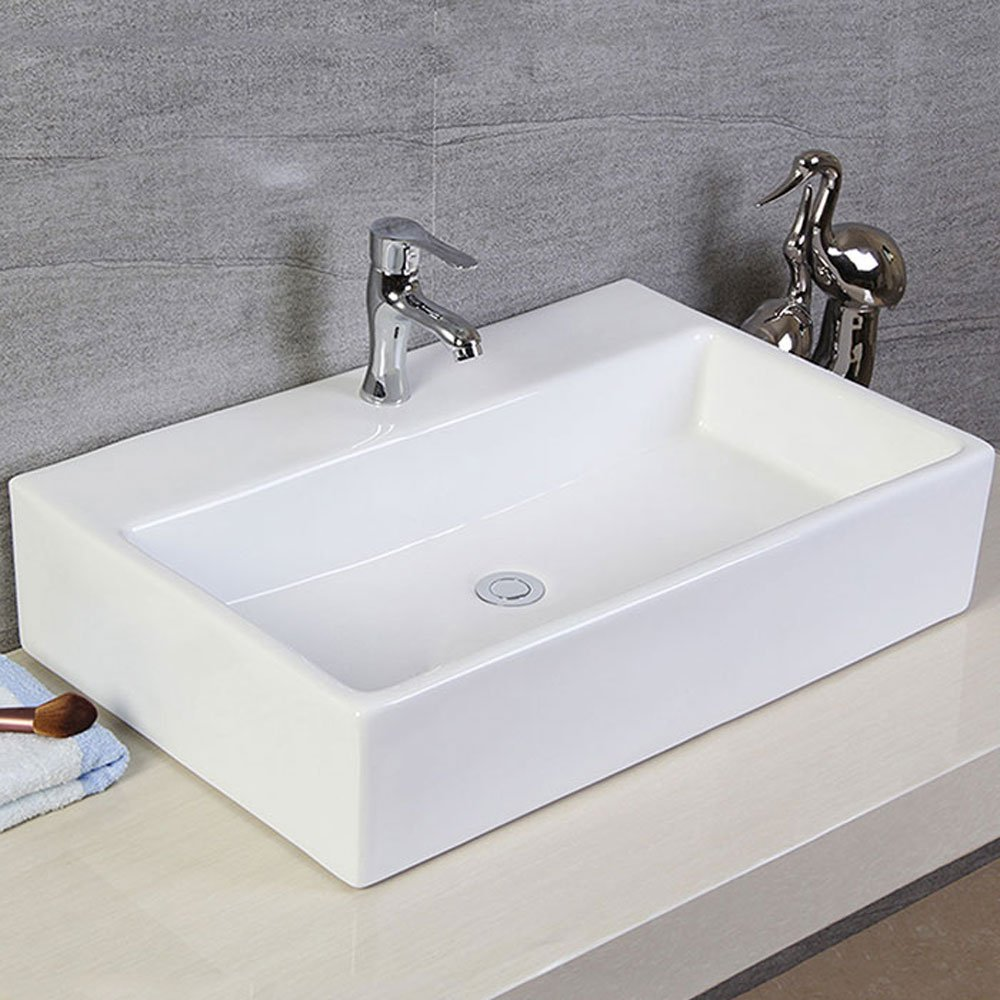 Decoraport White Rectangle Ceramic Bathroom Kitchen Vessel Sink Porcelain Vanity Above Counter Basin Bowl Cl-1099