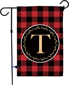 AKPOWER Small Garden Flag Black and Red Plaid Check Vertical Double Sided Farmhouse Burlap Yard Outdoor Decor Classic Monogram Letter 12.5 x 18 Inch T