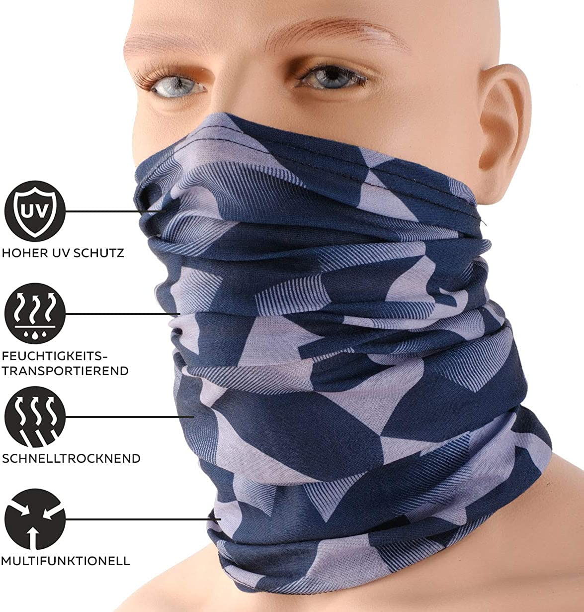 bandana for men and women multifunctional scarf tubular scarf HILLTOP motorcycle neckerchief shawl edges of the hem are sewn