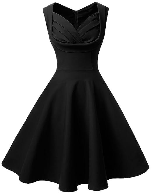 Angerella Mujeres Vestidos Retro Elegant Sundress Vestido de cóctel Negro para Junior