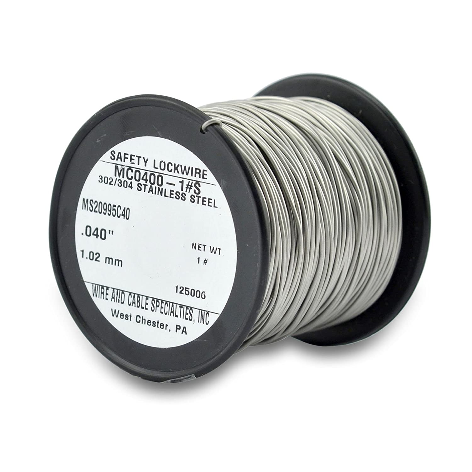 0.45 kg appx 231 ft 1.04 mm Spool Wire and Cable Specialties MC0400-1#S Safety Lockwire MS20995C40 .040 in 1 lb 32 m