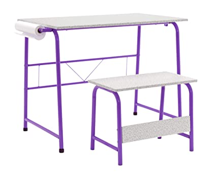 Awe Inspiring Calico Designs Project Center Kids Craft Table With Bench In Purple Spatter Gray 55127 Gmtry Best Dining Table And Chair Ideas Images Gmtryco