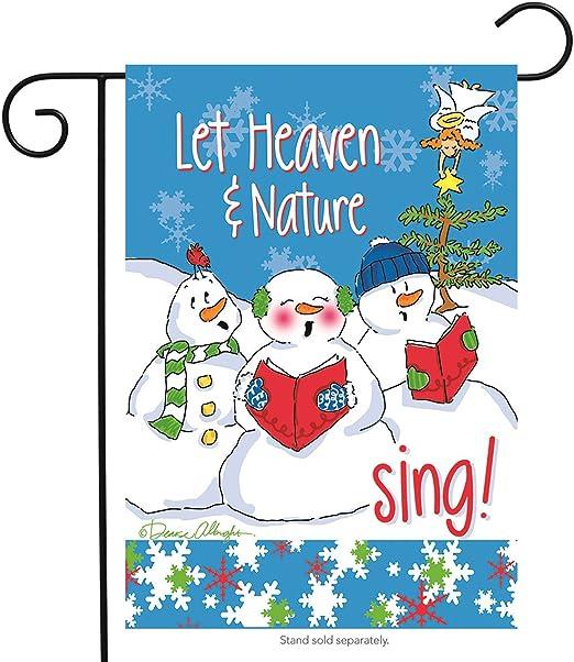 Let Heaven muñecos de nieve jardín bandera vacaciones de Navidad muñeco de nieve Carolers 12, 5