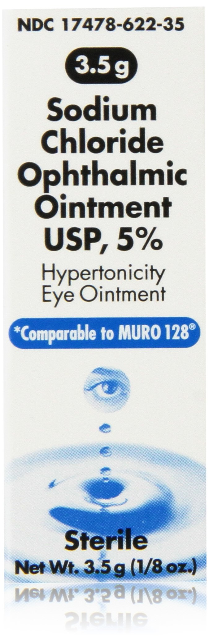 Sodium Chloride 5% Ophthalmic Ointment 0 .12 oz (3. 5 gm) (Compare to Muro 128.),Pack of 3
