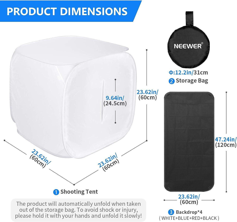 Neewer Caja de luz para estudio fotográfico (61x61centimetro), blanco: Amazon.es: Electrónica