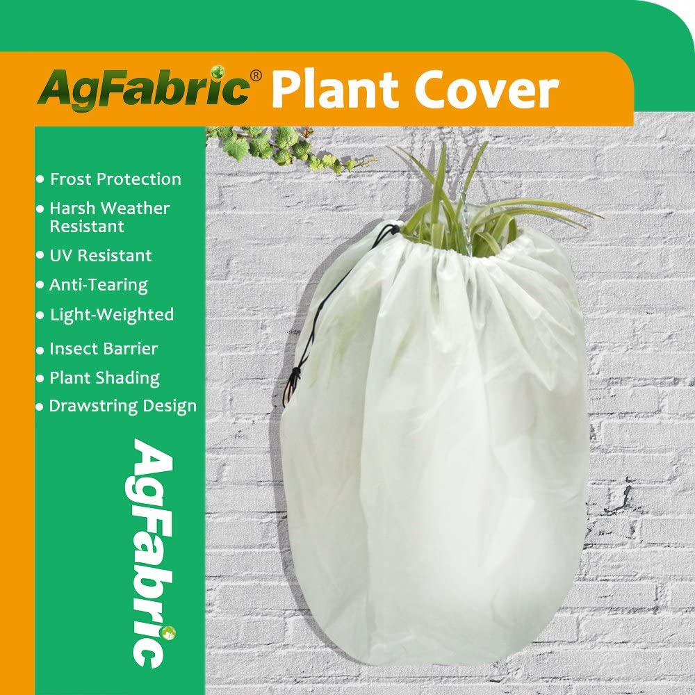 Agfabric Plant Cover Warm Worth Frost Blanket – 1.5 oz Fabric of 48 x55 Shrub Jacket, Rectangle Hanging Plant Cover for Season Extension Frost Protection