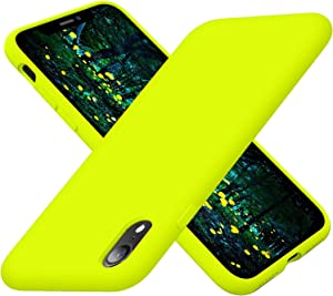 Cordking iPhone XR Phone Cases, Silicone Ultra Slim Shockproof Phone Case with [Soft Anti-Scratch Microfiber Lining], 6.1 inch, Fluorescent Green